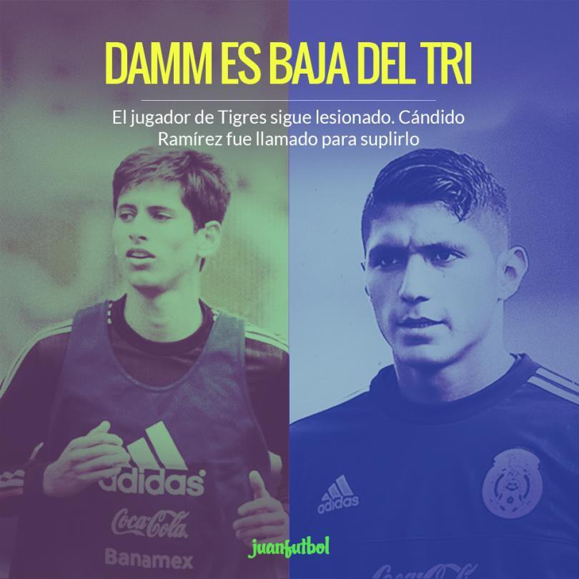 Damm es baja de la Selección Mexicana por lesión, Cándido Ramírez lo suple