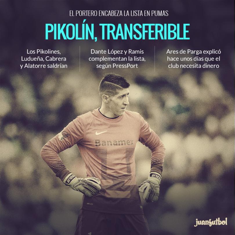 Pikolín encabeza la lista de transferibles en Pumas