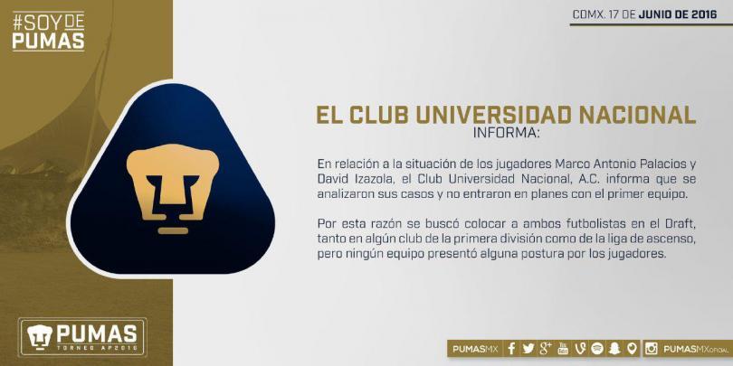 Universidad aclaró la situación de David Izazola y Marco Antonio Palacios