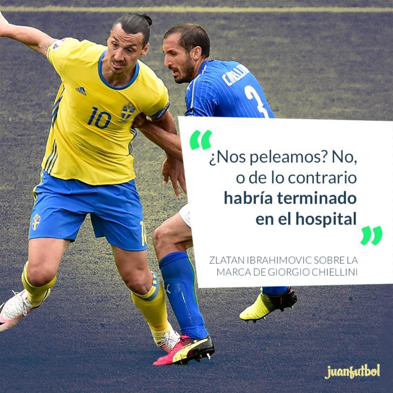 Zlatan Ibrahimovic habló sobre la dura marca de Chiellini