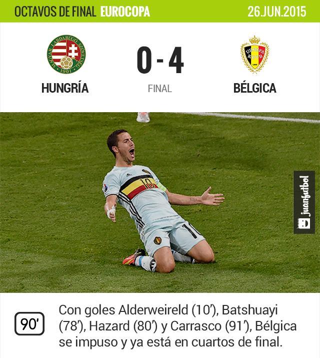 Bélgica golea a Hungría y está en cuartos de final