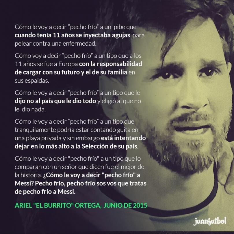 """La carta que Ariel """"El Burrito"""" Ortega le escribió a Lionel Messi."""