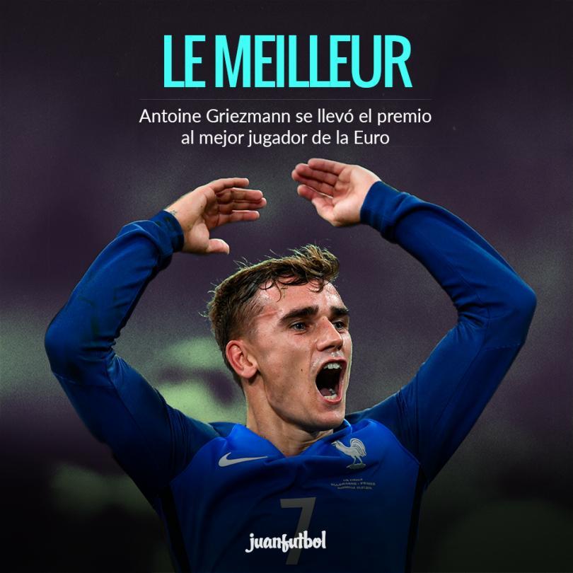 Griezmann fue determinado el mejor jugador de la Euro