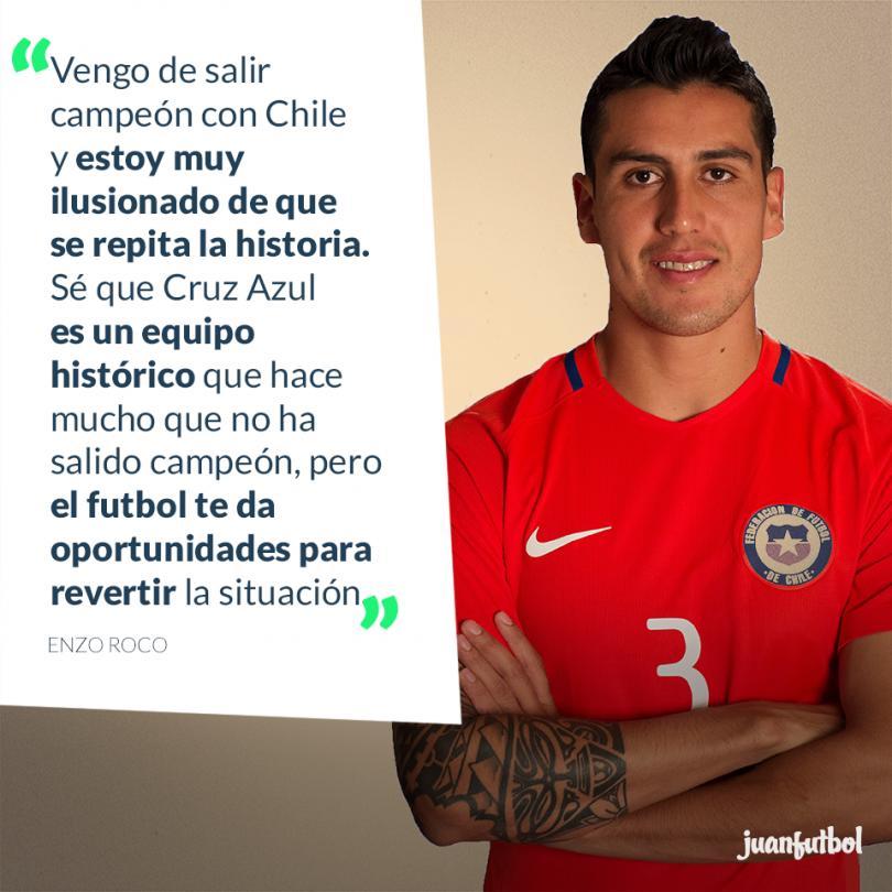 Enzo Roco espera repetir el título y ser campeón con Cruz Azul como lo fue con Chile.