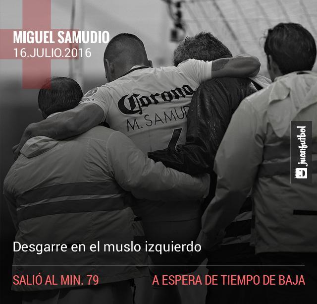 Miguel Samudio sufrió un desgarre