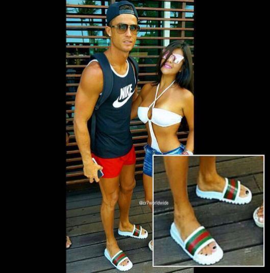 Cristiano Ronaldo con las uñas de los pies pintadas.