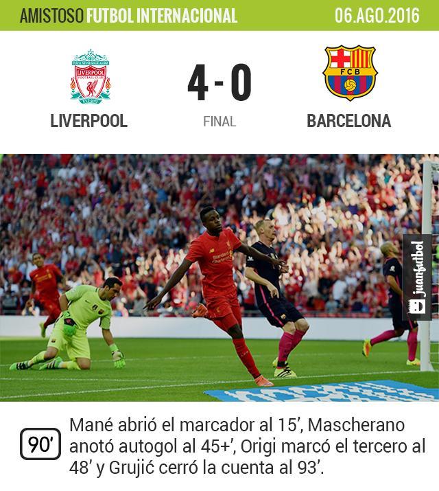 El Barcelona cae por goleada en amistoso contra Liverpool
