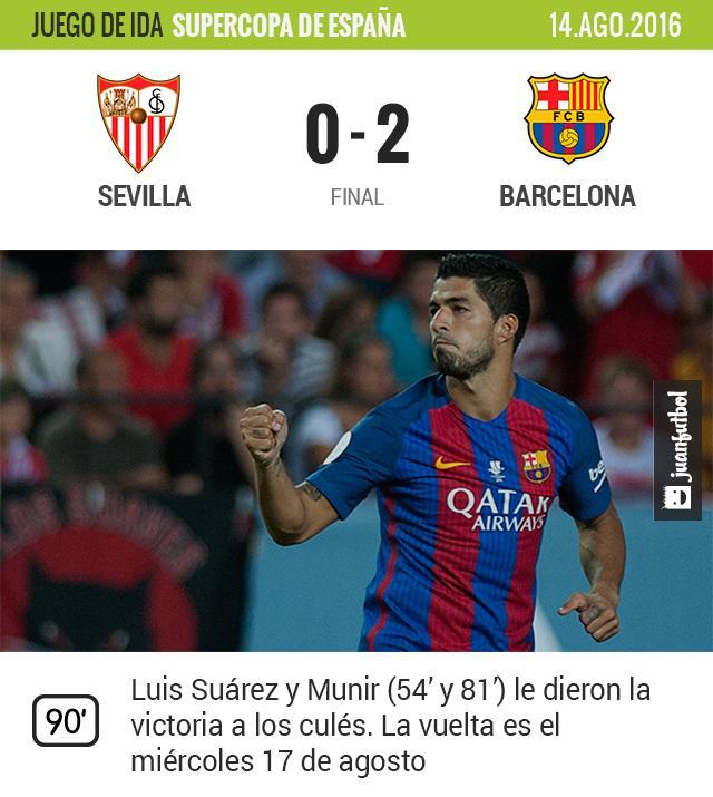 Luis Suárez celebra su primer gol