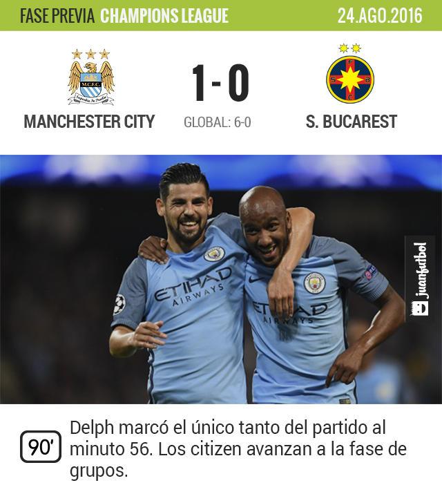 Manchester City avanzó a la fase de grupos