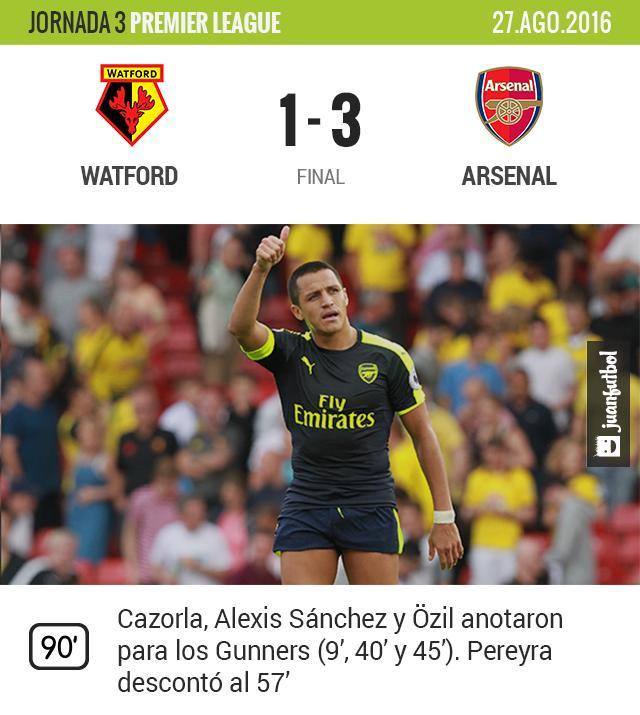 Alexis Sánchez celebra el gol del Arsenal