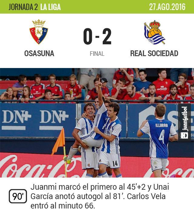 La Real vence al Osasuna, Vela entró de cambio.