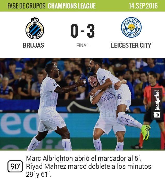 Mahrez fue la figura del Leicester en su debut en Champions