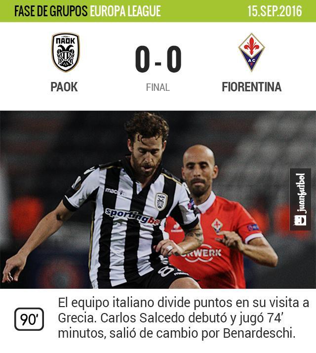 Salcedo debuta con la Fiore en la Europa League
