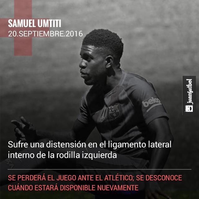 Umtiti será baja ante el Atlético de Madrid por lesión