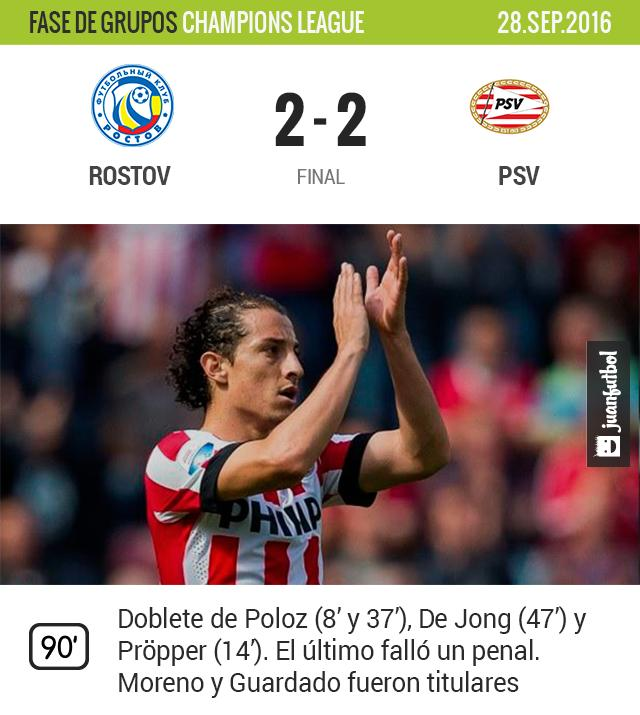 PSV saca empate de Rusia