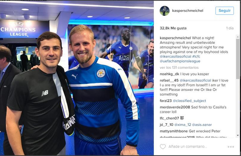 Schmeichel no pudo reprimir sus emociones al ver a Casillas