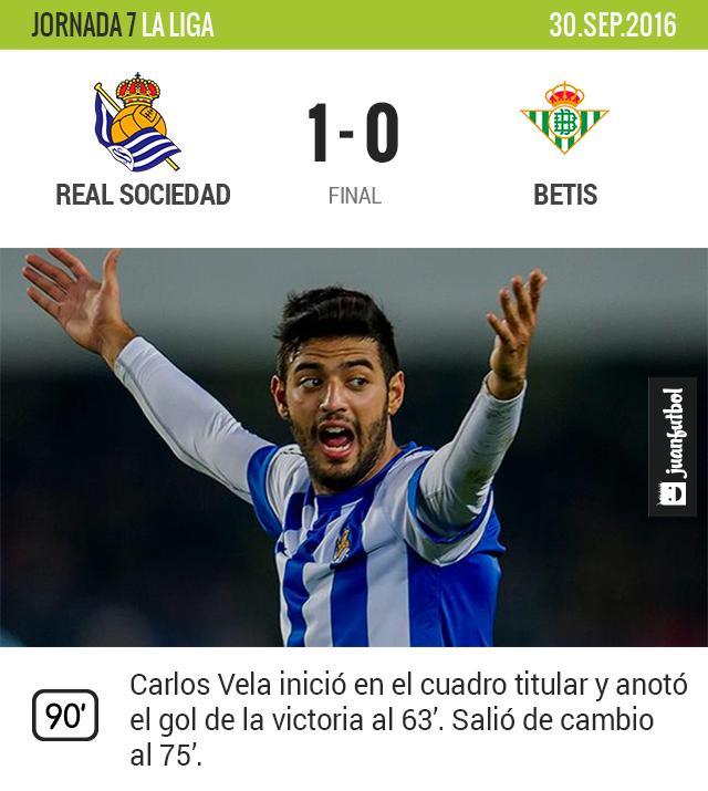Con esta victoria, Carlos Vela lleva dos juegos consecutivos marcando gol.