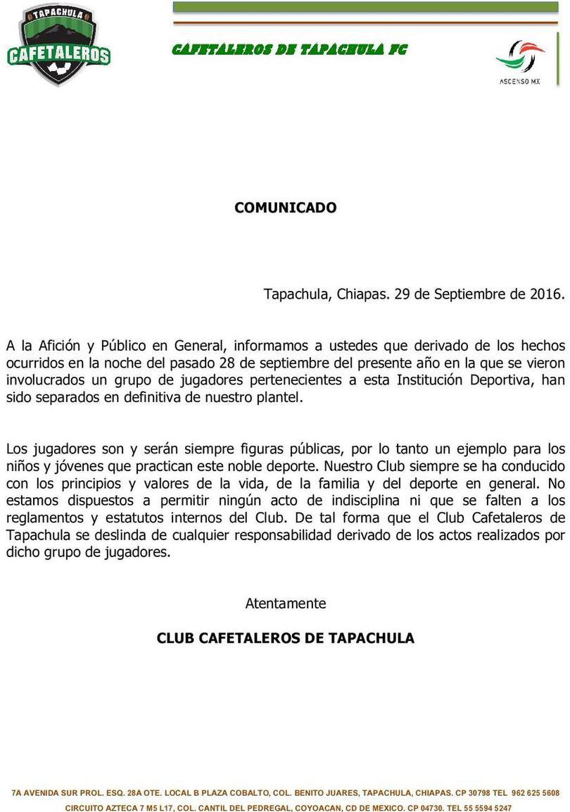 Comunicado Oficial del Club Cafetaleros