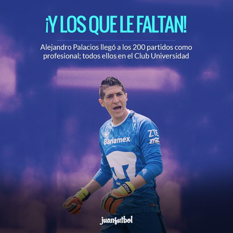 Palacios debutó en los Pumas en 2003 y nunca ha jugado en algún otro club.