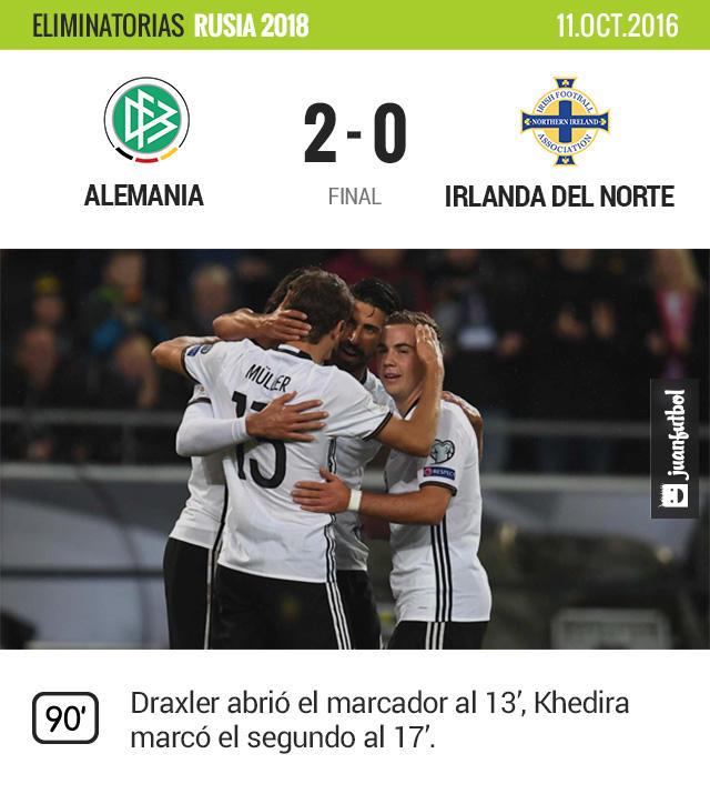Alemania le gana 2-0 a Irlanda del Norte.