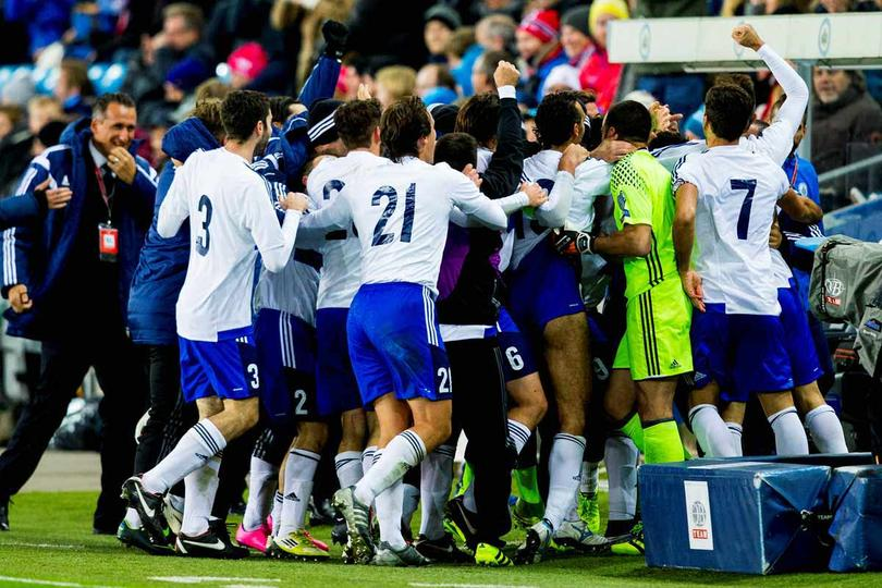 San Marino festeja su gol frente a Noruega