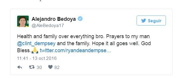 Bedoya pide que los aficionados hagan oración por su hermano.