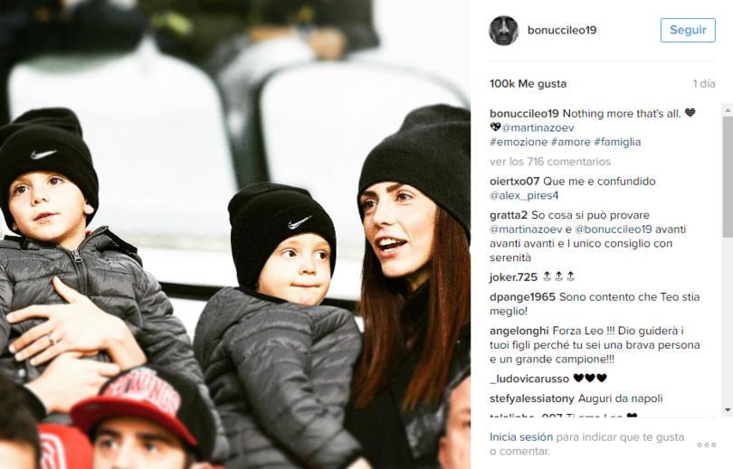 Leonardo Bonucci compartió que su hijo se encuentra mejor