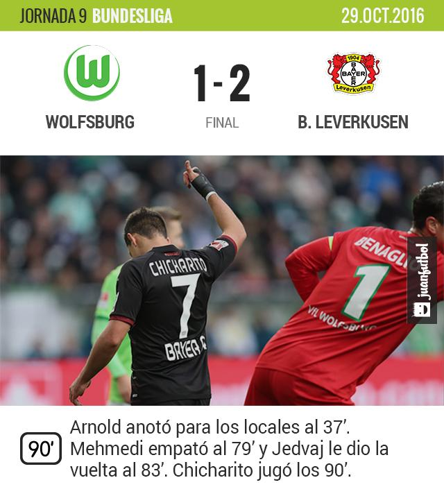 Chicharito y el Leverkusen le dan la vuelta al Wolfsburg en 5 minutos