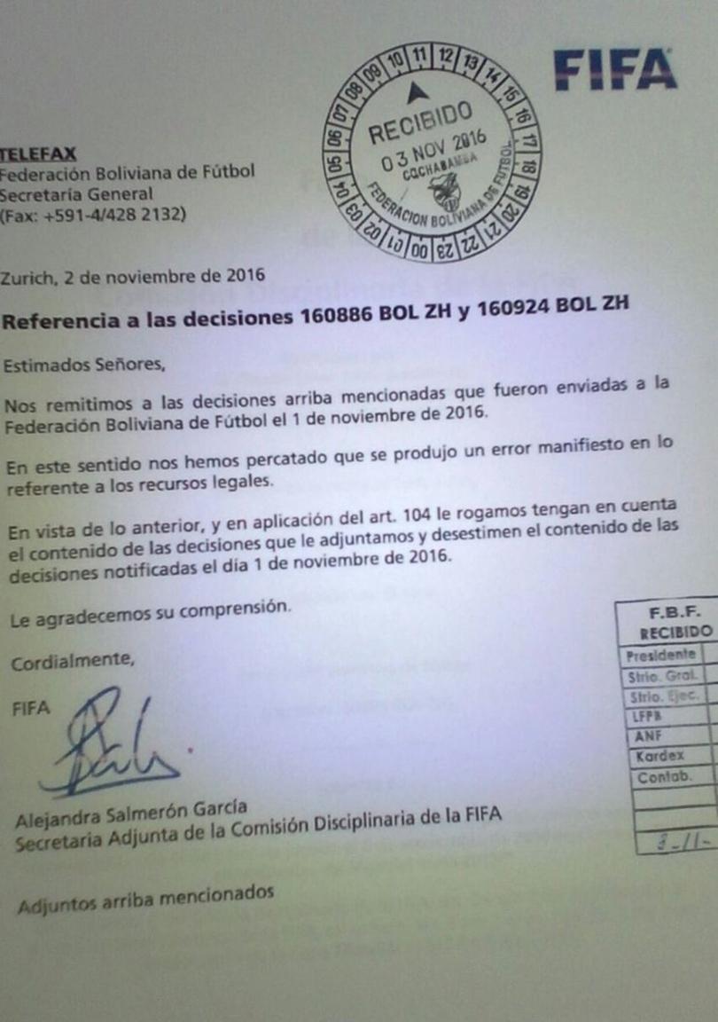 FIFA restituiría los puntos a Bolivia en las eliminatorias rumbo a Rusia 2018
