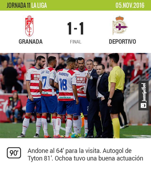 Grana empató contra el Deportivo la Coruña