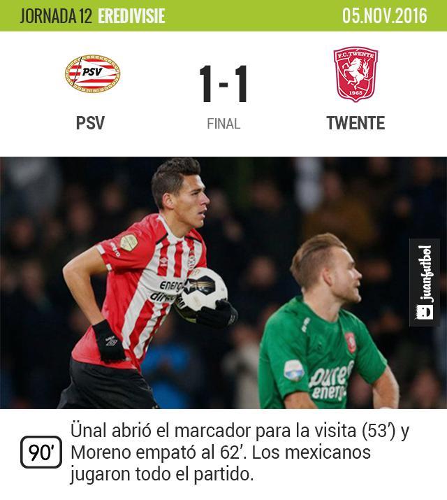 Moreno anota en el empate del PSV