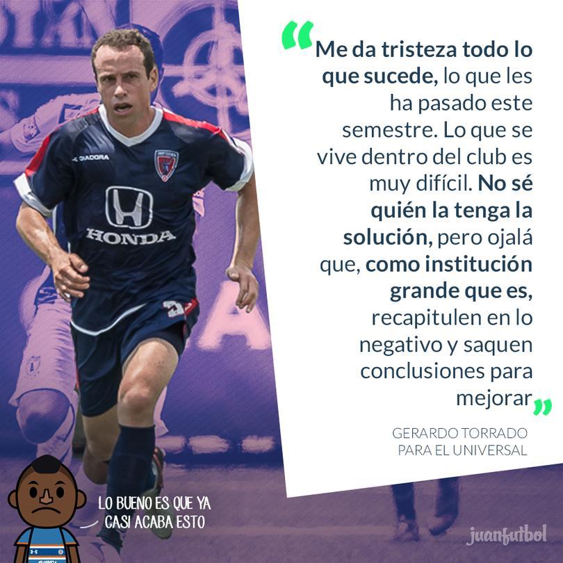 Gerardo Torrado lamenta la mala situación que atraviesa el Cruz Azul
