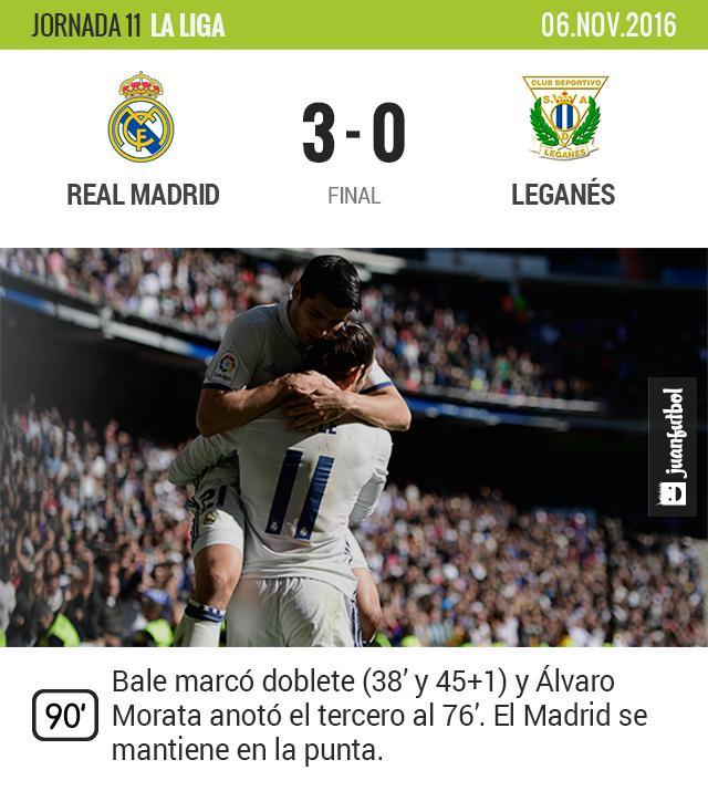 Real Madrid vence al Leganés en casa y suma otros tres puntos