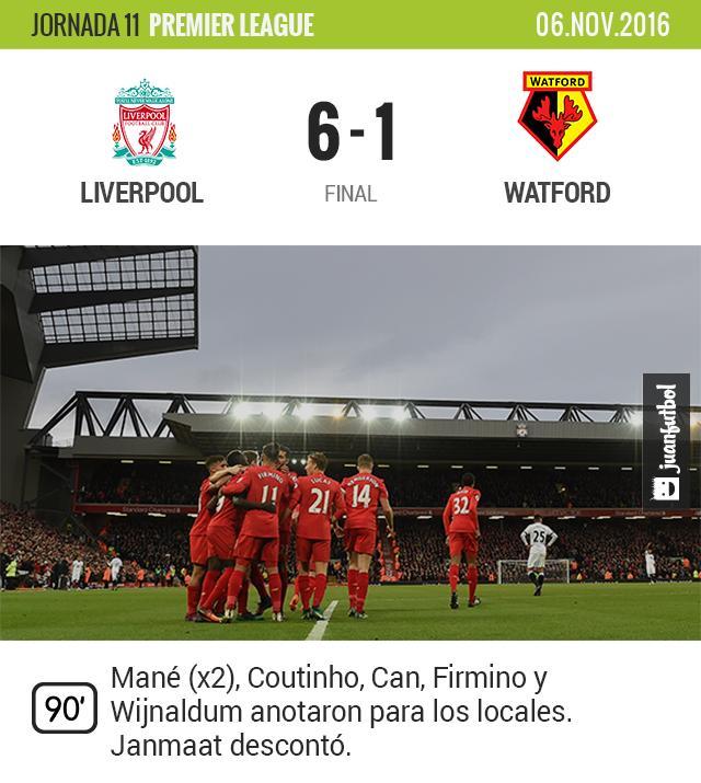 El Liverpool se sube a la cima de la Premier con goleada