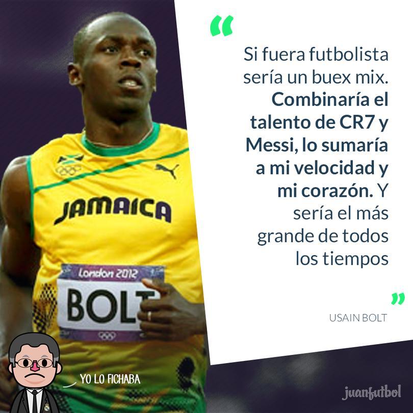 Bolt afirma que si fuera futbolista combinaría el talento de CR7 y Messi.