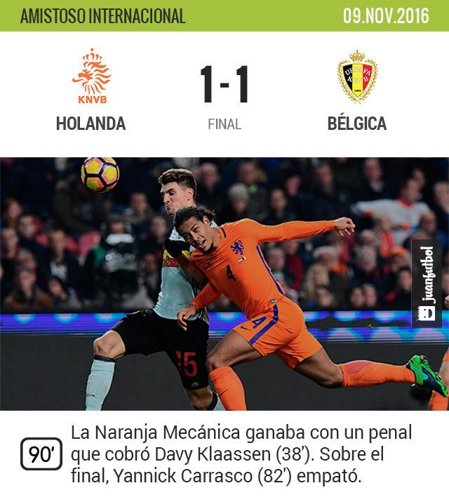 Bélgica saca un empate en su visita a Holanda en su primer partido de esta fecha FIFA