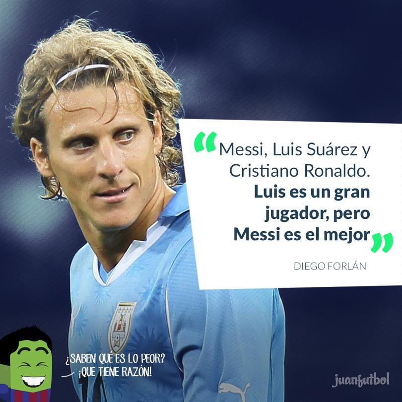 Forlán pone a Suárez entre los mejores tres, pero abajo de Messi
