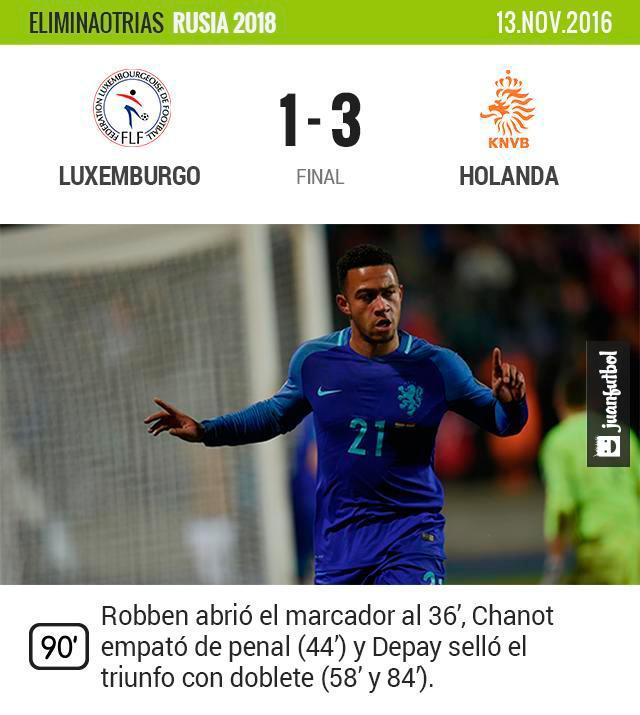 Holanda vence a Luxemburgo de visita