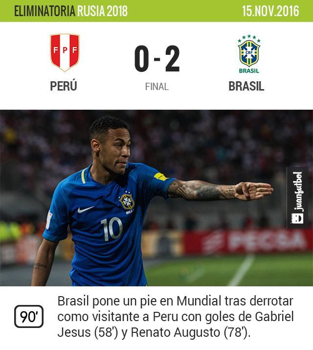 Brasil derrota como visitante a Perú y pone un pie en el Mundial