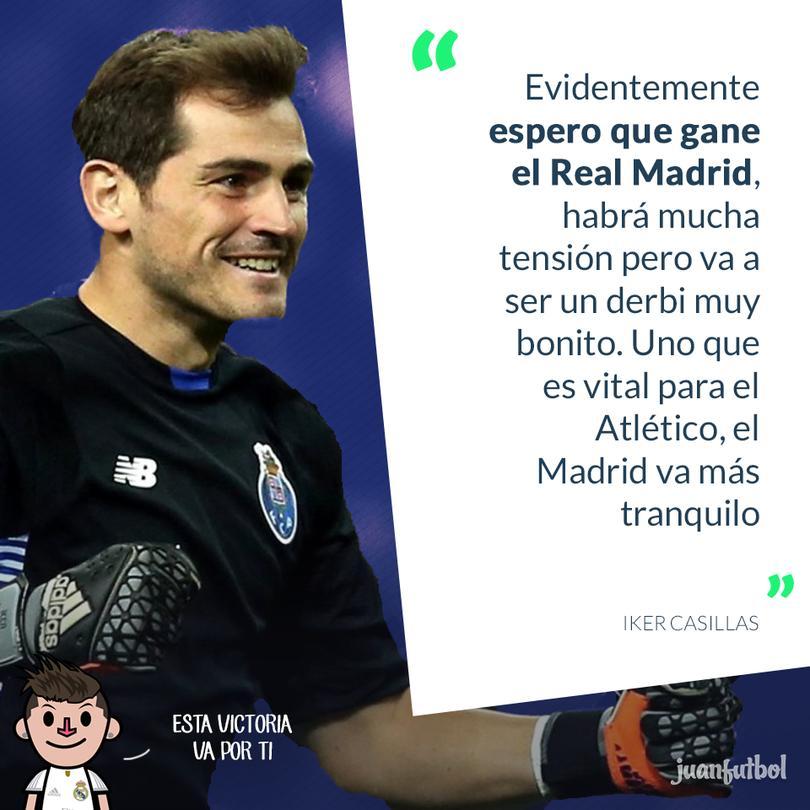 Iker Casillas afirma que quiere que gane el Real Madrid.