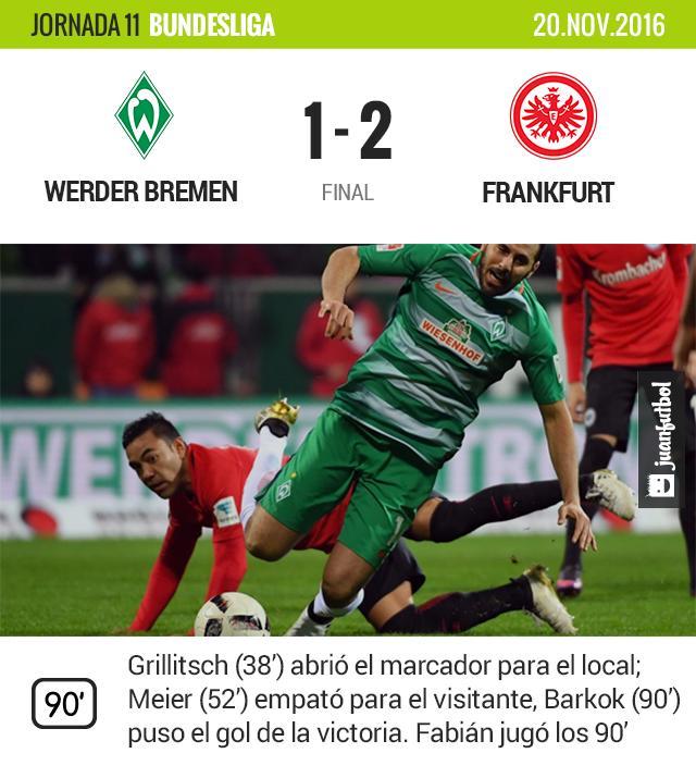 Victoria del Frankfurt frente al Werder Bremen.
