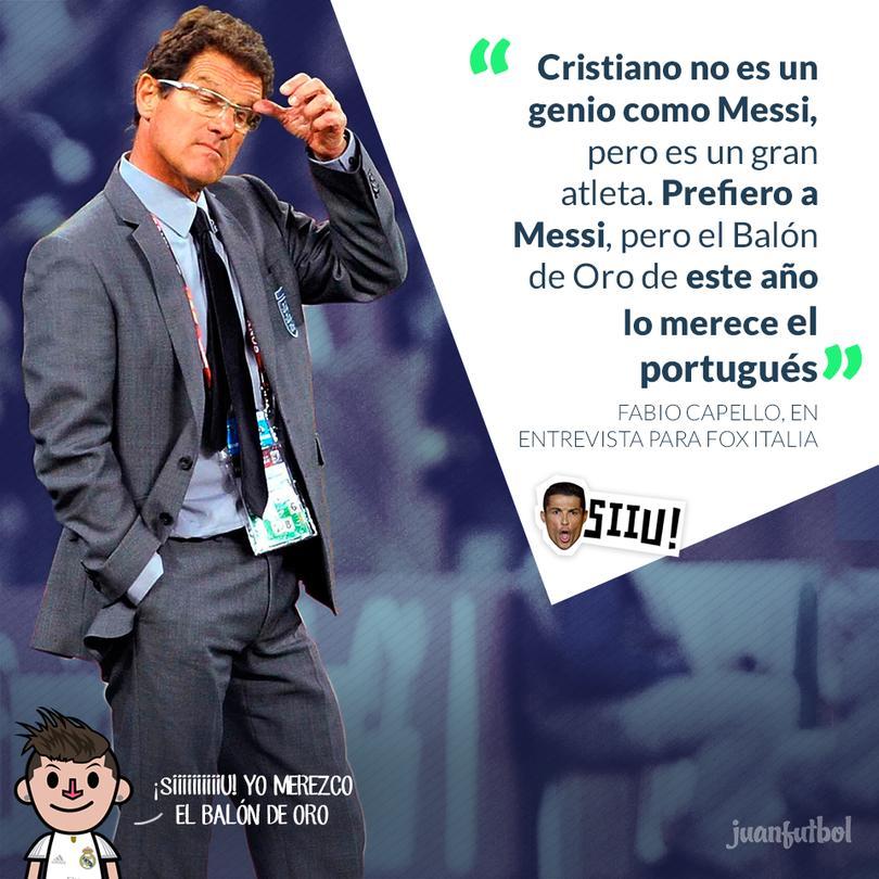 Capello prefiere a Messi, pero considera que Cristiano Ronaldo merece el Balón de Oro