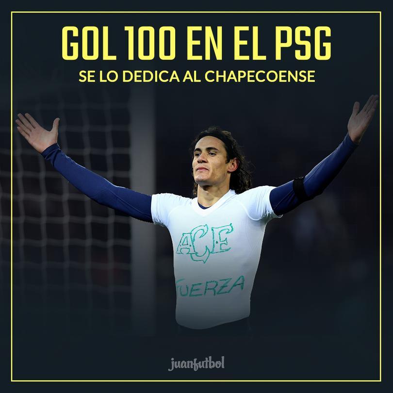 Cavani le dedicó su gol 100 al Chapecoense.