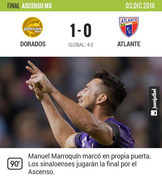 El equipo de Sinaloa fue superior al Atlante y se impuso por global de 4-2