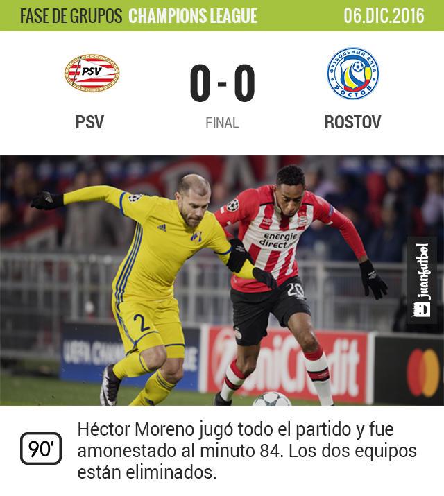 Héctor Moreno jugó todo el partido con el PSV y se llevó amarilla al 84'