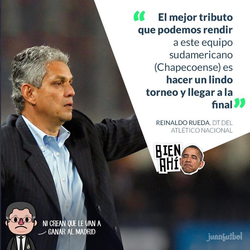 Reinaldo Rueda, DT del Atlético Nacional quiere homenajear al Chapeco en el Mundial de Clubes.