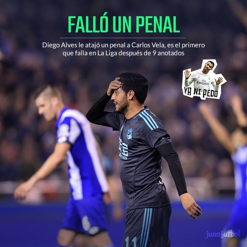 Carlitos Vela falló desde los 11 pasos contra el Valencia
