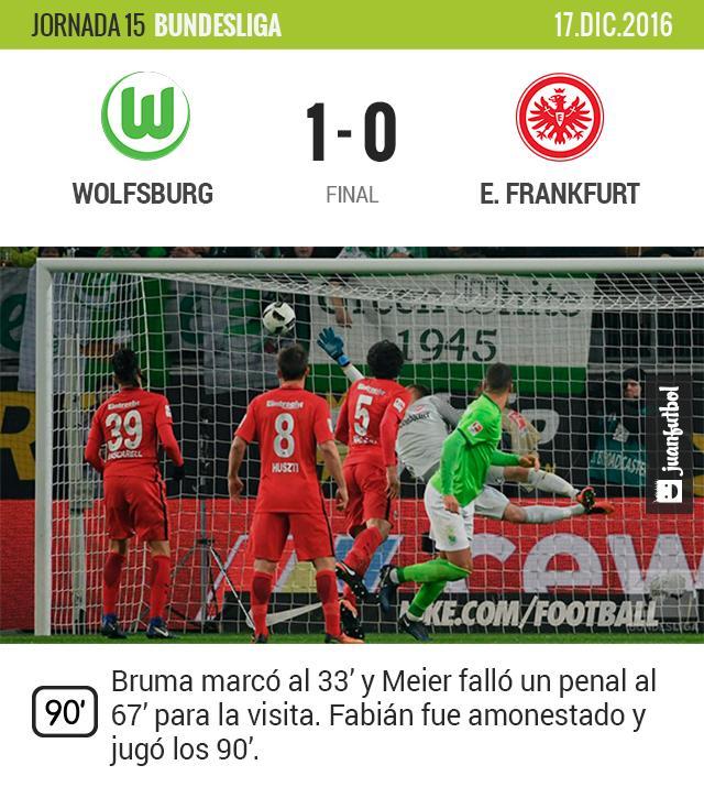 El Eintracht de Fabián cae en su visita al Wolfsburg