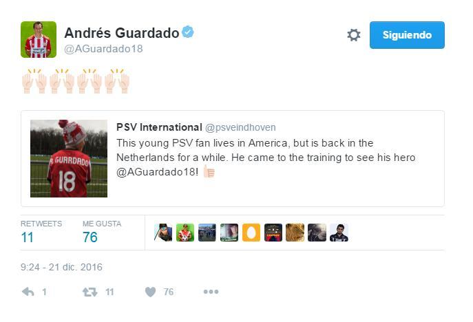 Andrés Guardado agradece el apoyo de su pequeño fan