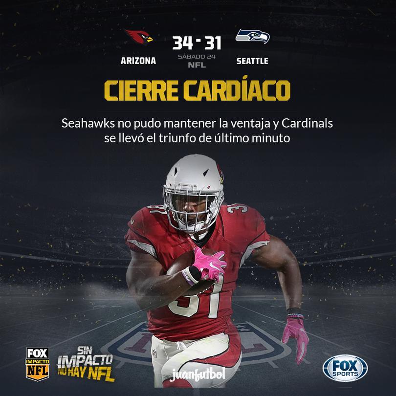 Cardinals aprovecha errores de los Seahawks para llevarse en triunfo en Seattle